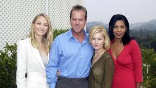 Sarah Wynter, Kiefer Sutherland, Elisha Cuthbert, and Penny Johnson Jerald at 24 Season 2 Press Conference