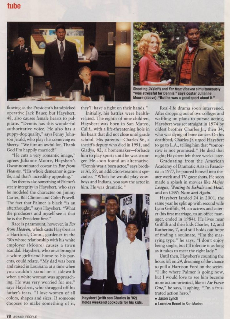 Dennis Haysbert in People Magazine March 2003