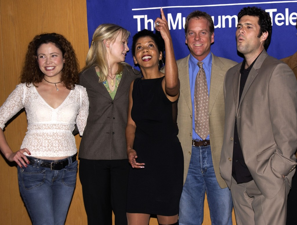 "Reiko Aylesworth, Laura Harris, Penny Johnson Jerald, Kiefer Sutherland, Carlos Bernard, Michelle Forbes, Dennis Haysbert at The 20th Anniversary William S. Paley Television Festival Presents ""24"""
