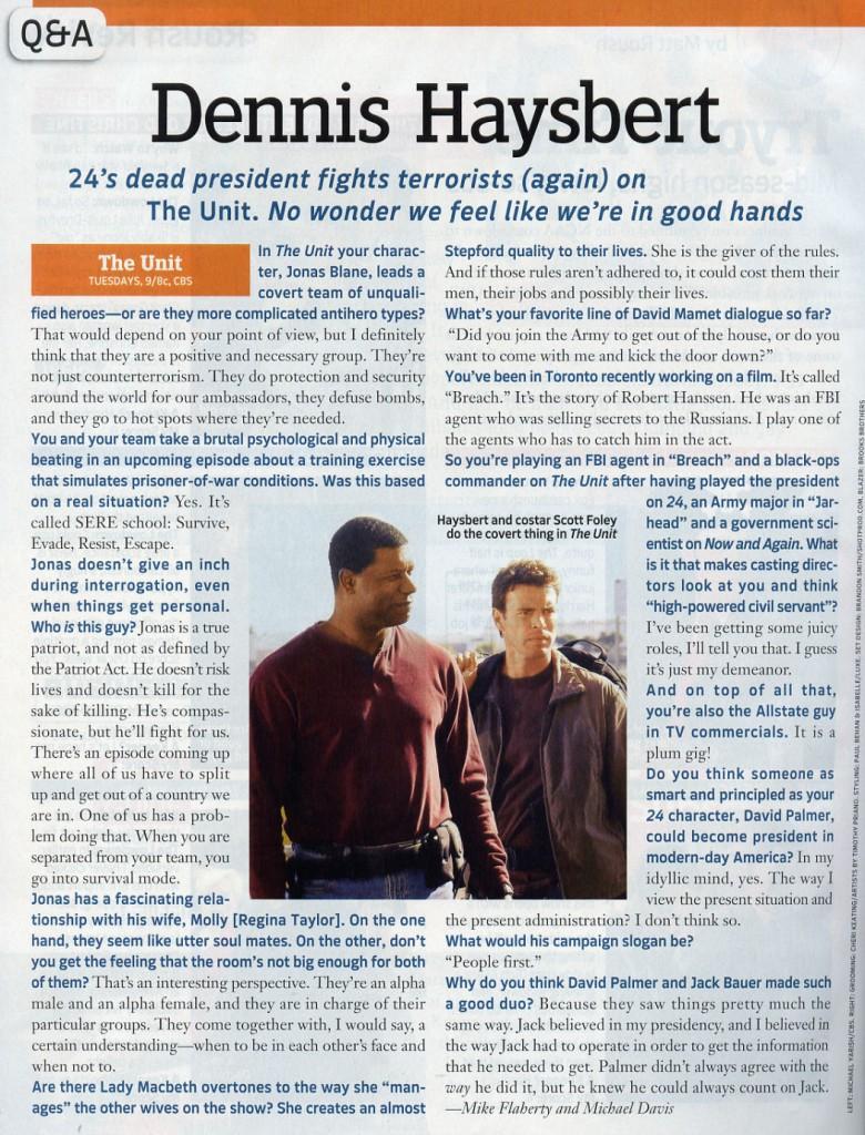 Dennis Haysbert in TV Guide Magazine March 2006