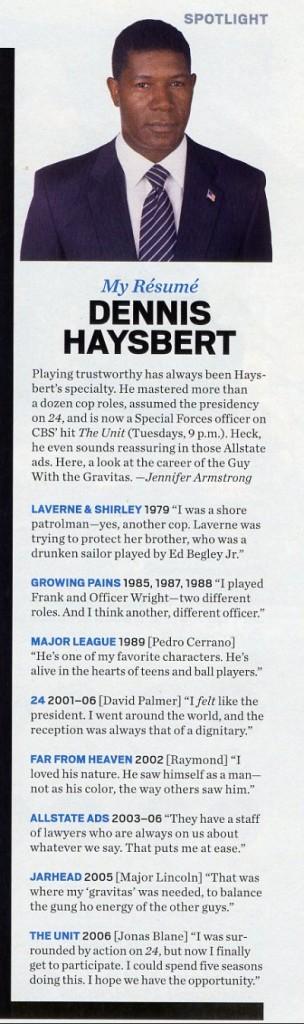 Dennis Haysbert in Entertainment Weekly Magazine May 2006