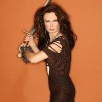 Mary Lynn Rajskub Geek Monthly Swinging Sword Photoshoot