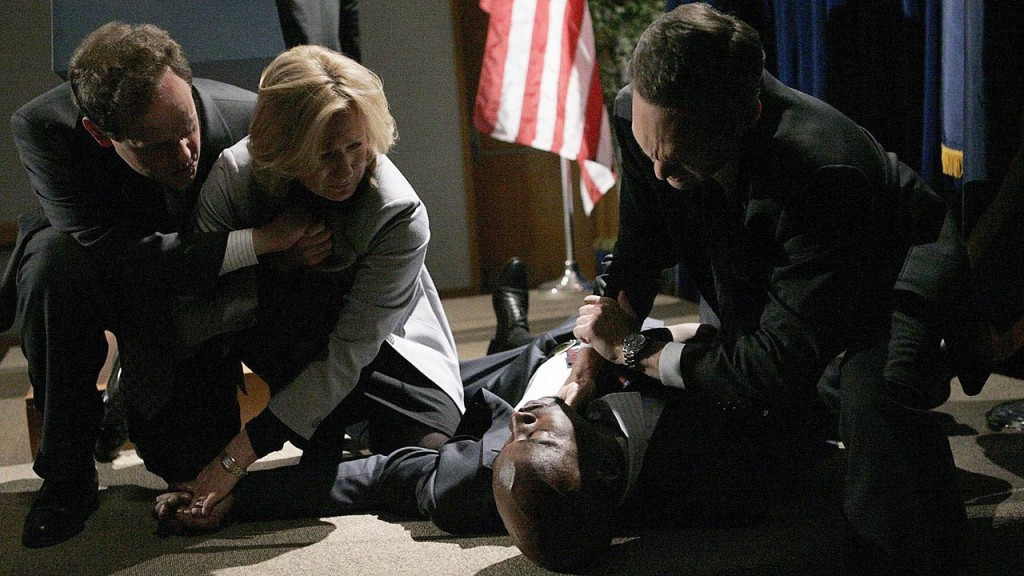 President Wayne Palmer collapses during his press conference in 24 Season 6 Episode 18