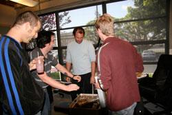 P.A. Rob carefully explains nuclear devices to Matt & Trey.