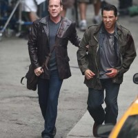 Kiefer Sutherland and Benito Martinez filming 24 Season 8 premiere