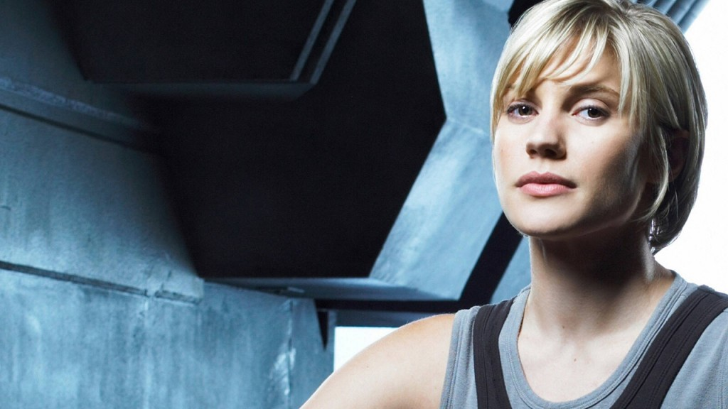 Katee Sackhoff as Kara Thrace in Battlestar Galactica