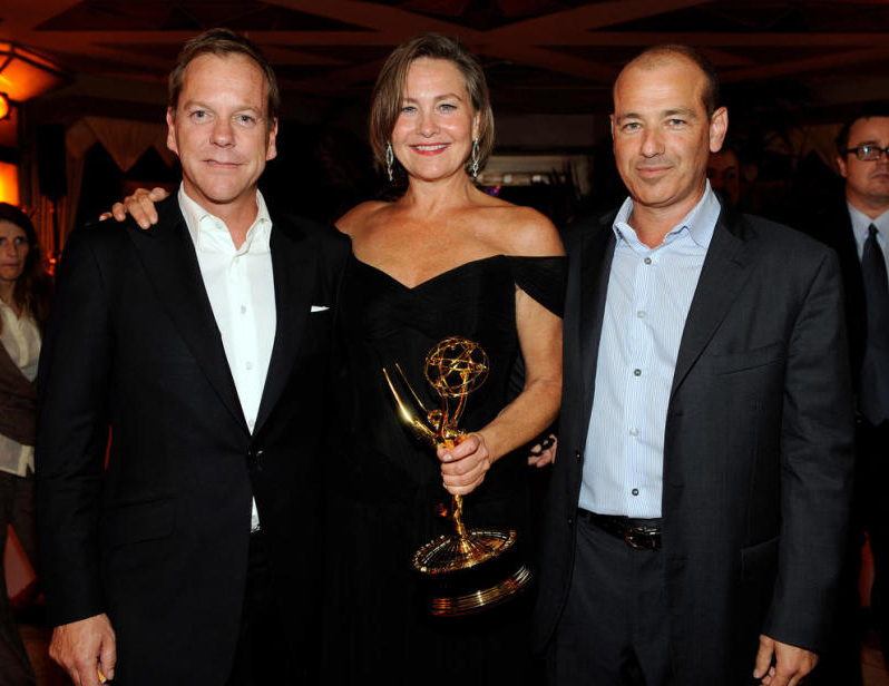 Kiefer Sutherland Cherry Jones and Howard Gordon at Emmys 2009