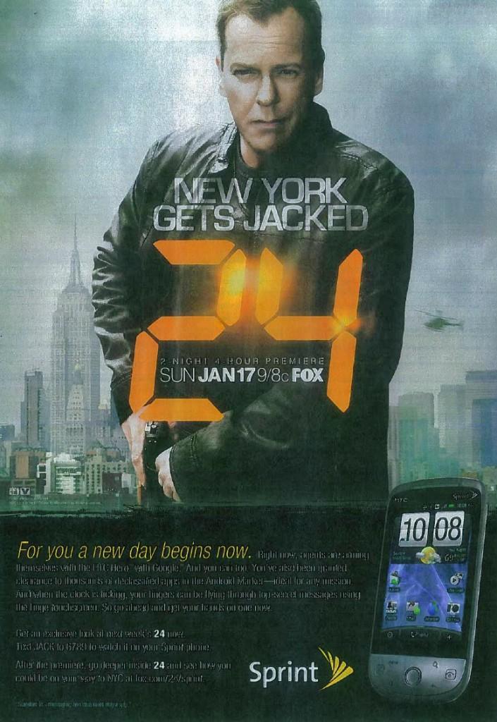 TV Guide Jan 4th - 24 season 8 Sprint ad