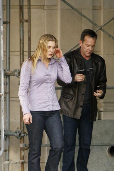Kiefer Sutherland and Katee Sackhoff on 24 set