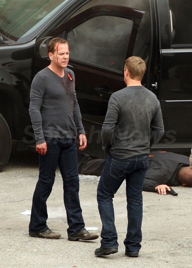 Kiefer Sutherland and stunt double 24 Series Finale set pictures