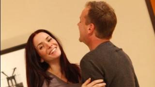 Annie Wersching and Kiefer Sutherland laugh behind the scenes