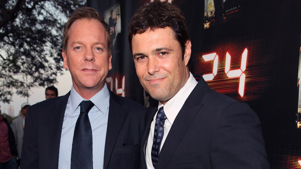 Kiefer Sutherland and Carlos Bernard at the 24 Season 7 Finale Party