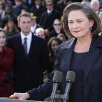 Cherry Jones as President Allison Taylor gives speech in 24 Redemption