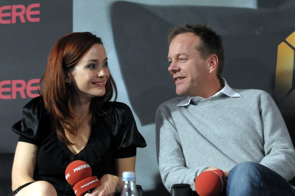 Annie Wersching and Kiefer Sutherland at 24 Press Conference in Munich, Germany