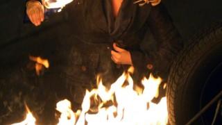 Elisha Cuthbert filming 24 Season 7 finale, Kim Bauer on fire