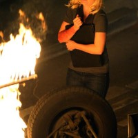 Elisha Cuthbert filming 24 Season 7 finale, Kim Bauer on fire