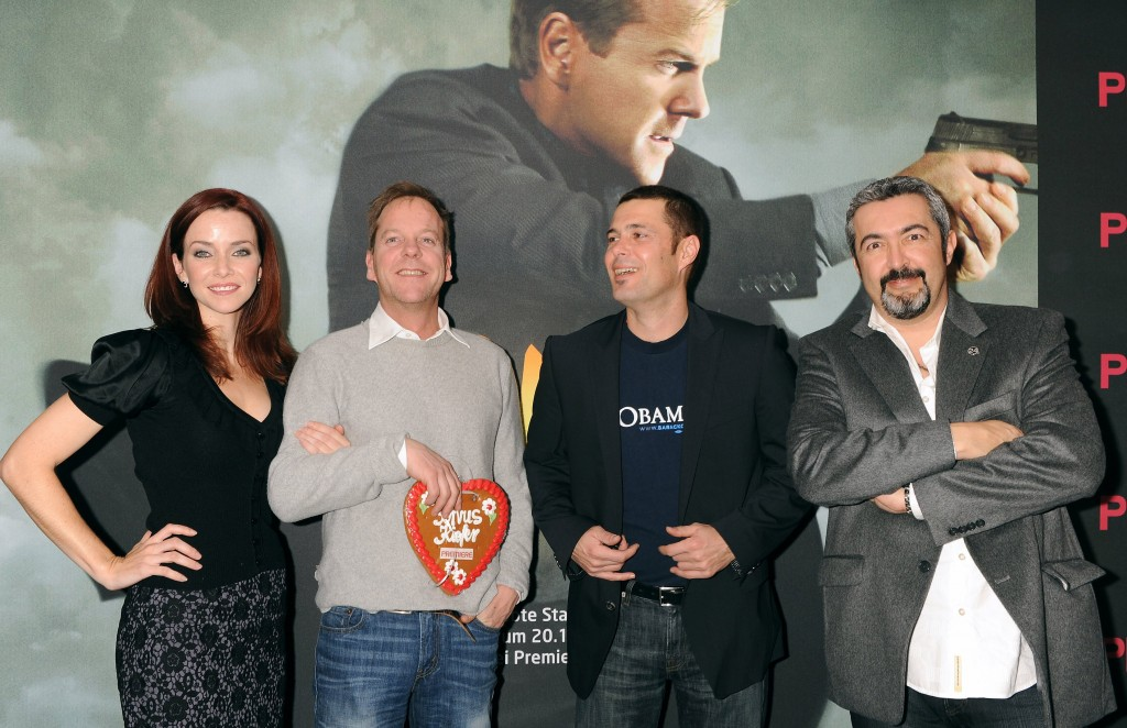 Annie Wersching, Kiefer Sutherland, Carlos Bernard, Jon Cassar at 24 Press Conference in Munich, Germany