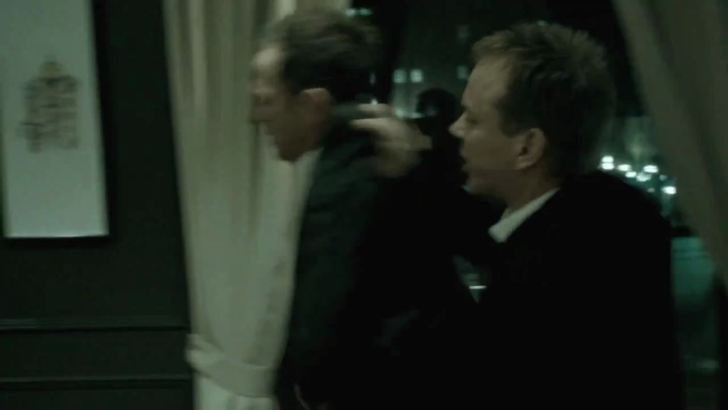 Kiefer Sutherland and Greg Ellis in The Confession screencap