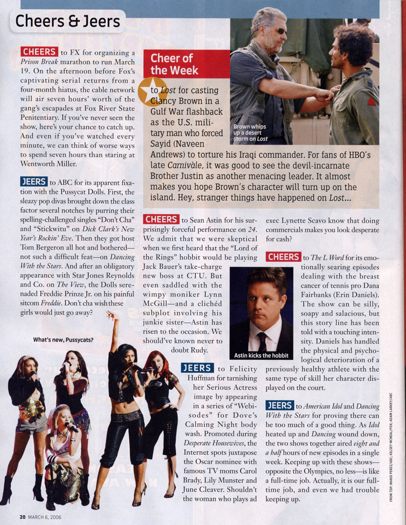 Sean Astin in TV Guide magazine March 6, 2006