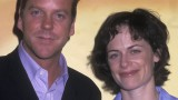 Kiefer Sutherland and Sarah Clarke at the FOX Upfront Party in 2002