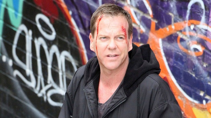 Set photo of Kiefer Sutherland filming the 24 Series Finale