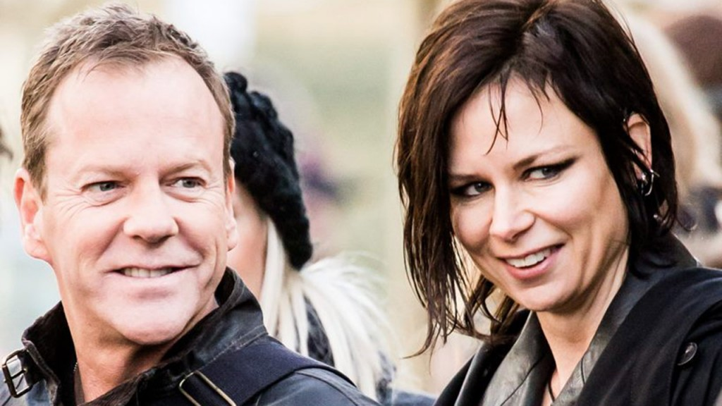 Kiefer Sutherland and Mary Lynn Rajskub on set of 24: Live Another Day