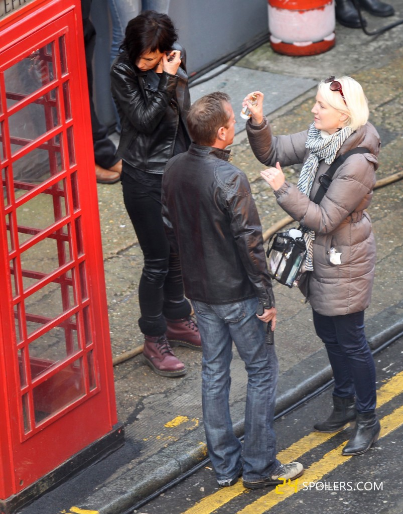 Kiefer Sutherland gets makeup applied while filming a 24: Live Another Day promotional video
