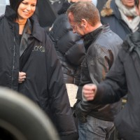 Mary Lynn Rajskub and Kiefer Sutherland filming 24: Live Another Day Promotional Video in London