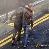 Mary Lynn Rajskub, Kiefer Sutherland filming 24: Live Another Day Promo Video