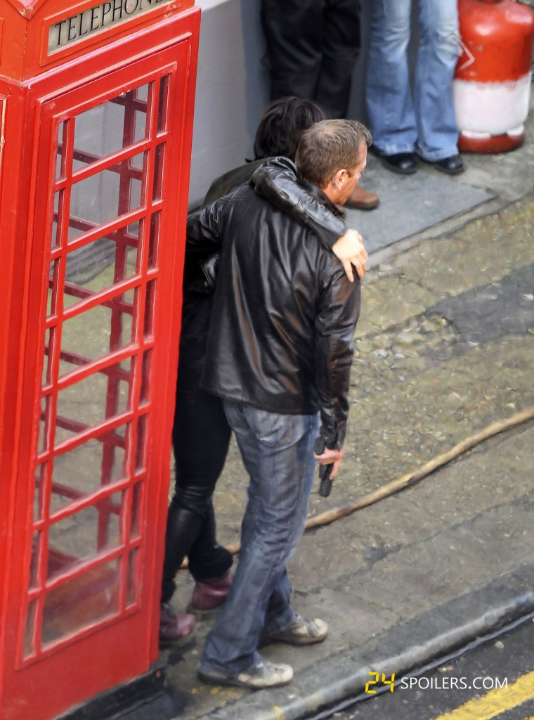 Mary Lynn Rajskub and Kiefer Sutherland filming 24: Live Another Day in London