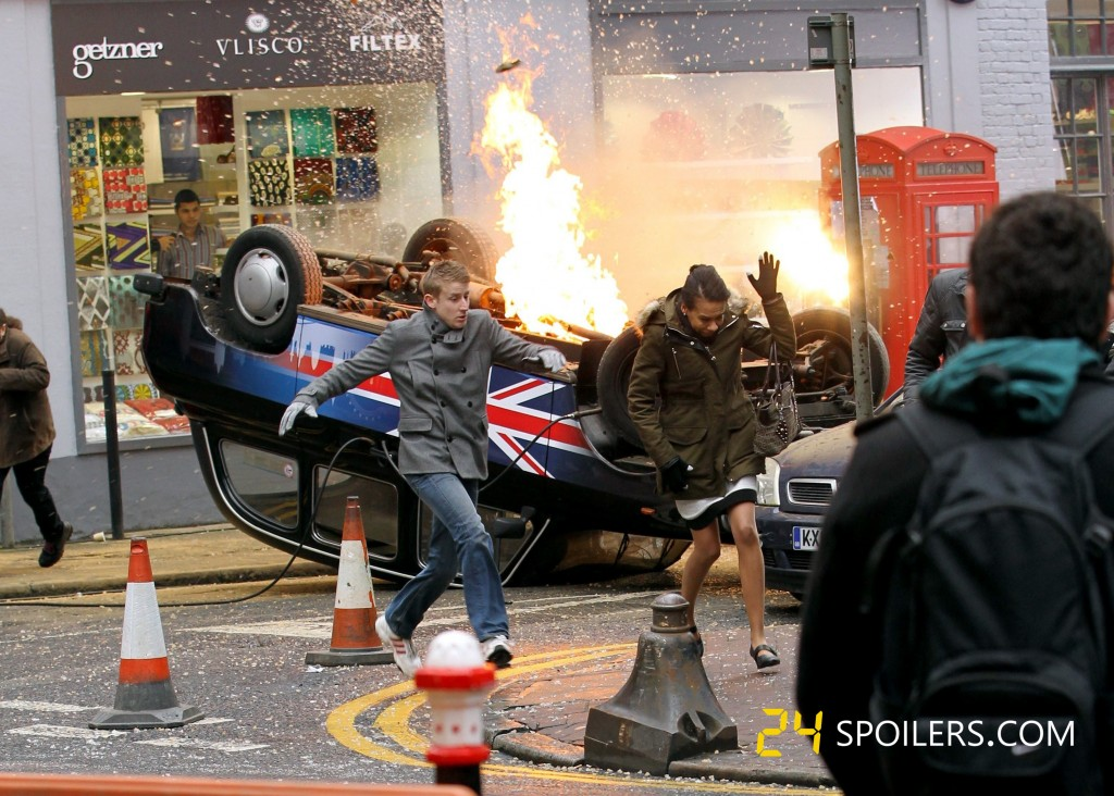 Union Jack cab explodes during 24: Live Another Day filming