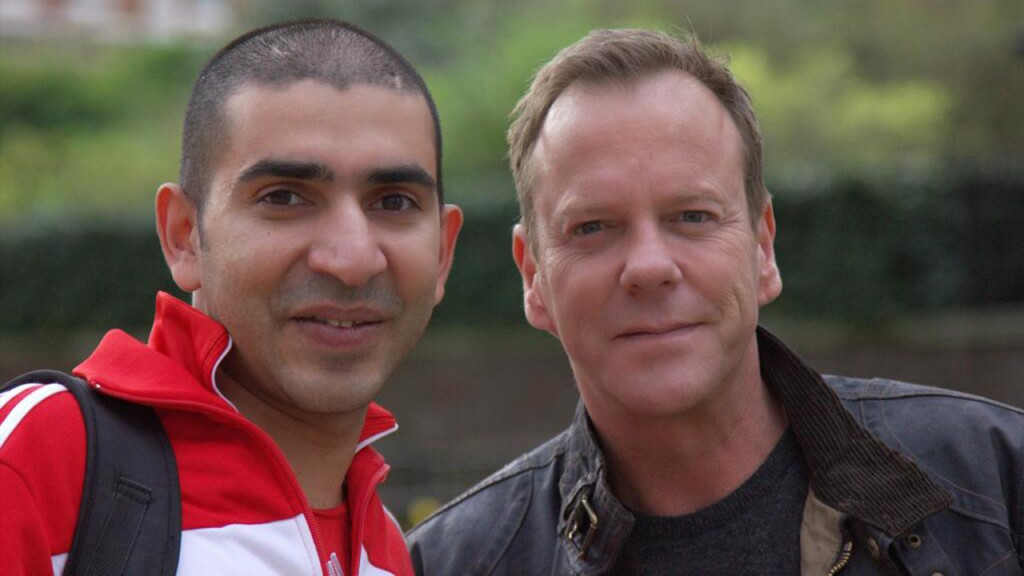 Kiefer Sutherland with fan in London