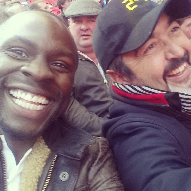 Gbenga Akinnagbe and Jon Cassar at Wembley Stadium