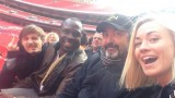 Giles Matthey, Gbenga Akinnagbe, Jon Cassar, and Yvonne Strahovski at Wembley Stadium filming 24: Live Another Day.