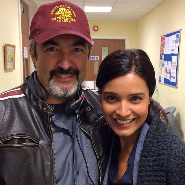 Jon Cassar and Shelley Conn on set of 24: Live Another Day