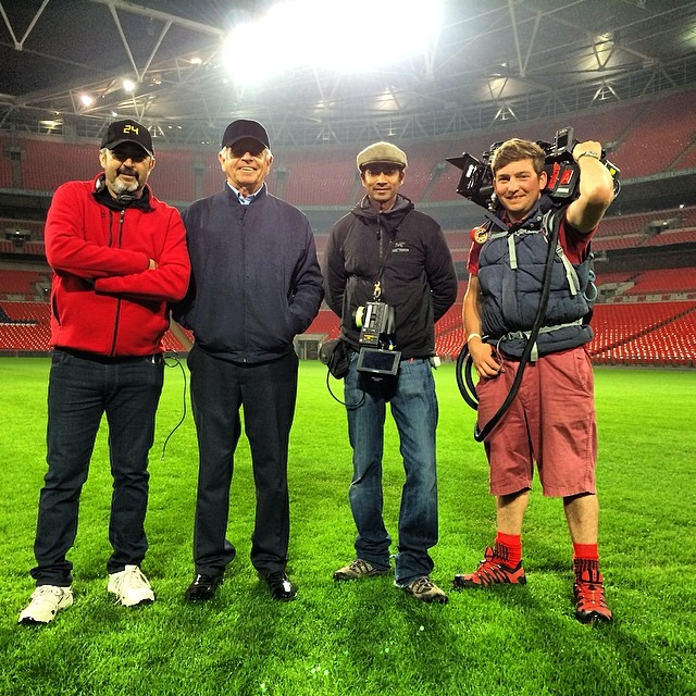 Jon Cassar and William Devane at Wembley Stadium