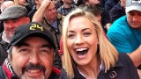 Jon Cassar and Yvonne Strahovski take a selfie while filming 24: Live Another Day in Wembley Stadium