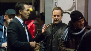 Benjamin Bratt and Kiefer Sutherland filming 24: Live Another Day