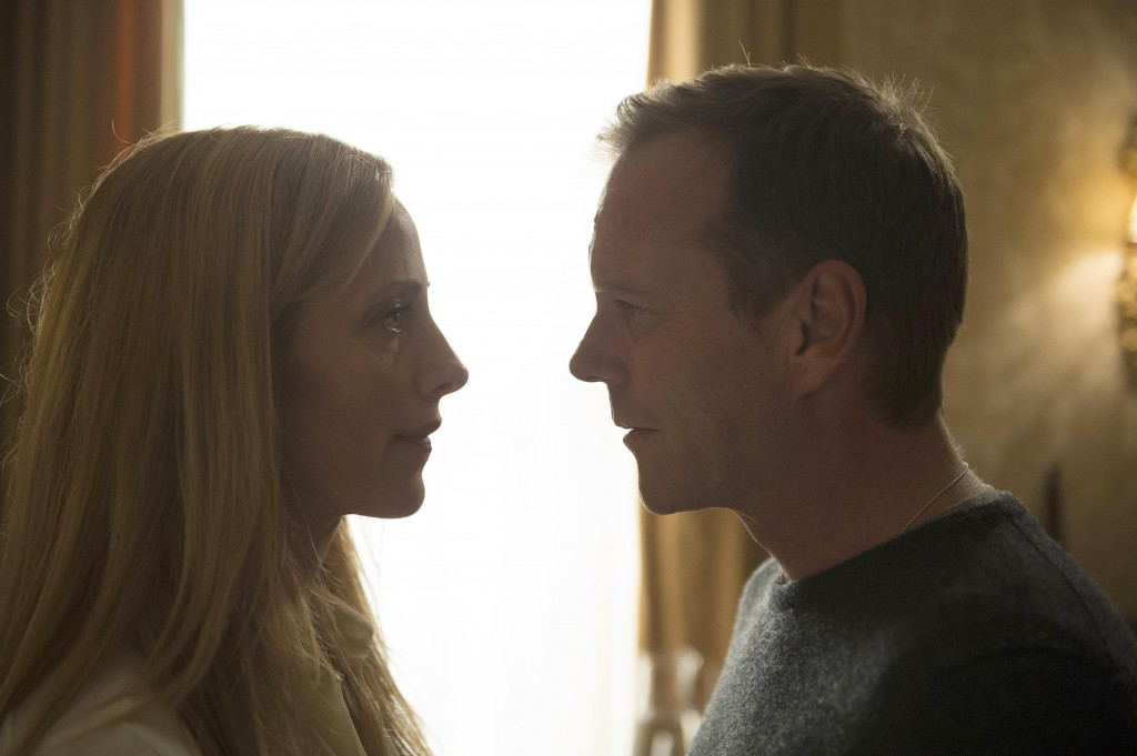 Audrey (Kim Raver) and Jack Bauer (Kiefer Sutherland) share a moment in 24: Live Another Day Episode 5