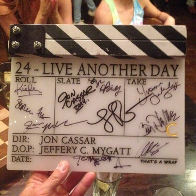 Signed 24 clapper board at 24: Live Another Day wrap party