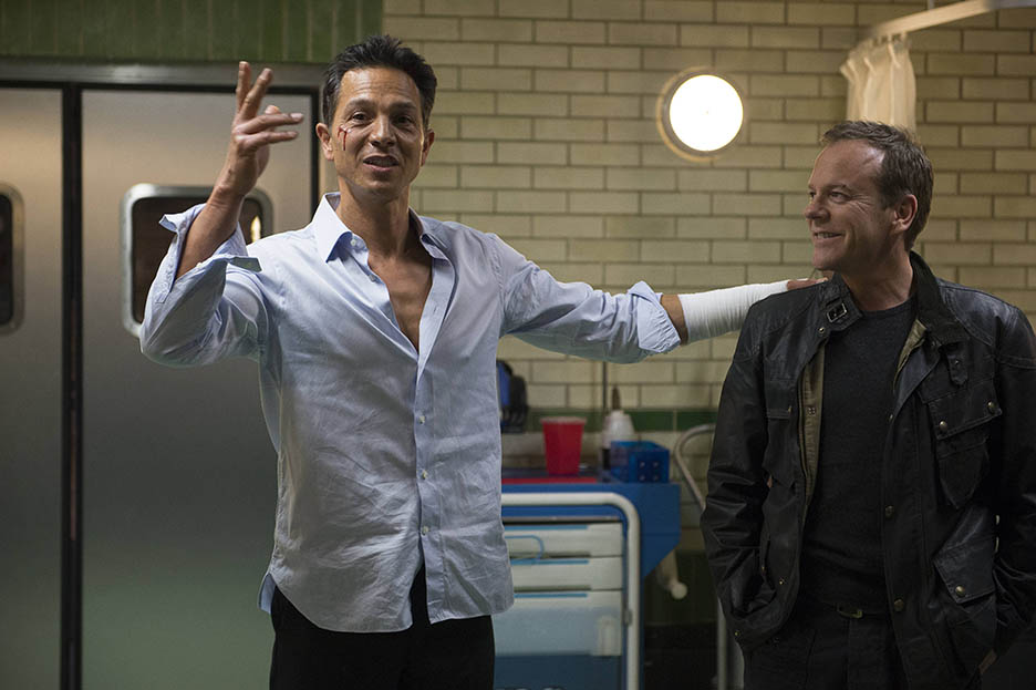 Benjamin Bratt and Kiefer Sutherland behind the scenes of 24: Live Another Day Episode 10