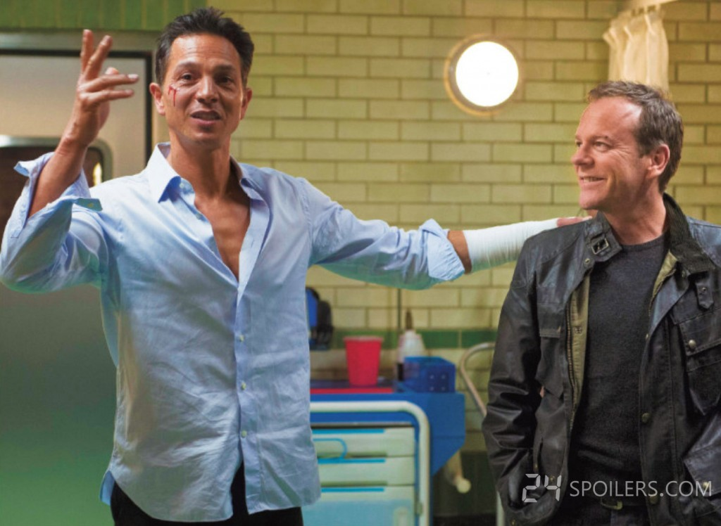 Benjamin Bratt and Kiefer Sutherland behind the scenes of 24: Live Another Day