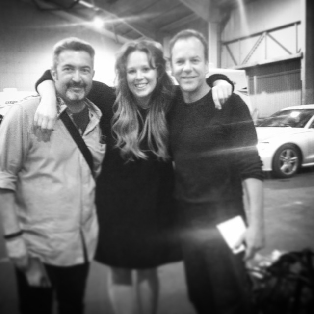 Makeup artist Jenny Valerie Rhodes with Jon Cassar and Kiefer Sutherland on 24: Live Another Day's final production day