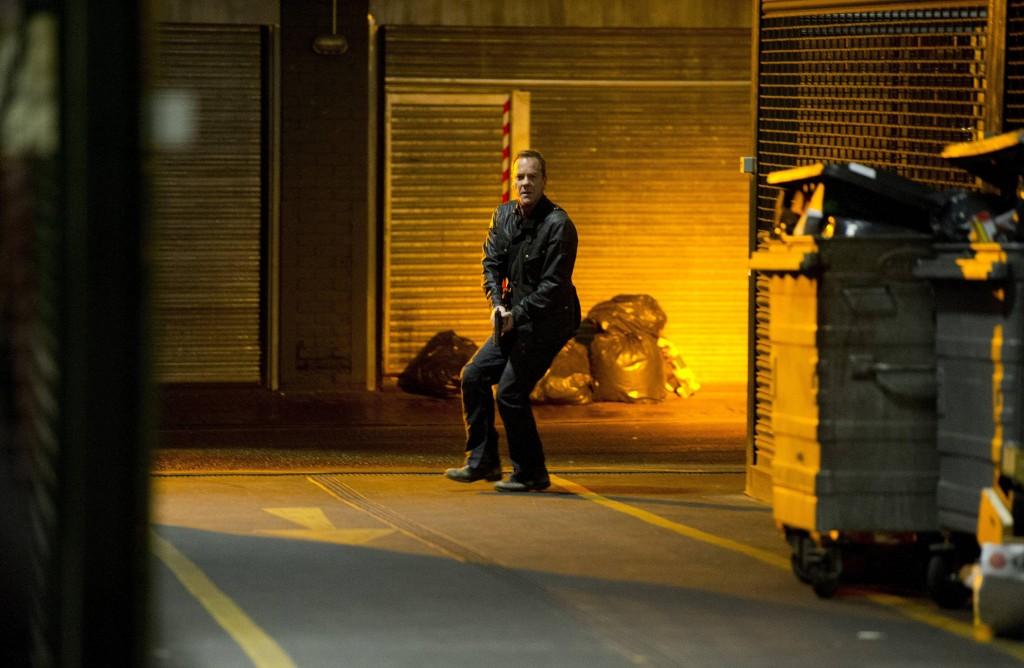 Jack Bauer (Kiefer Sutherland) runs after Navarro in 24: Live Another Day Episode 10