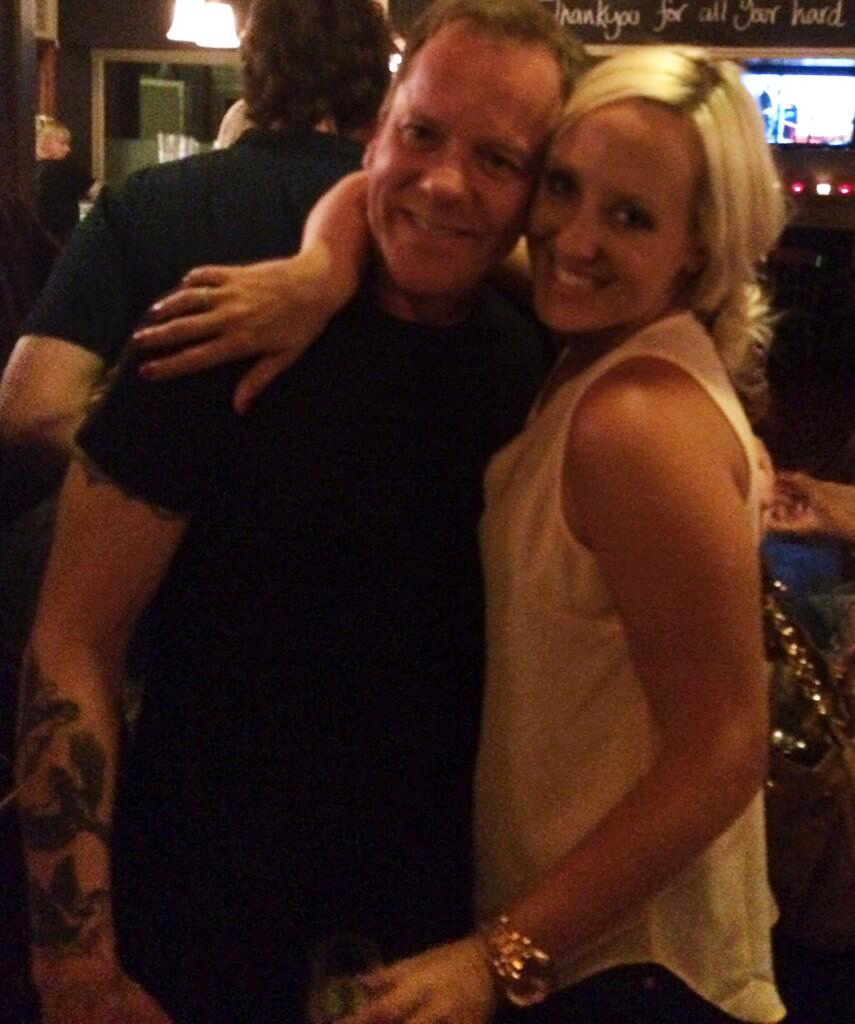 Kiefer Sutherland with 24: Live Another Day costume designer Kelly Williams at the wrap party