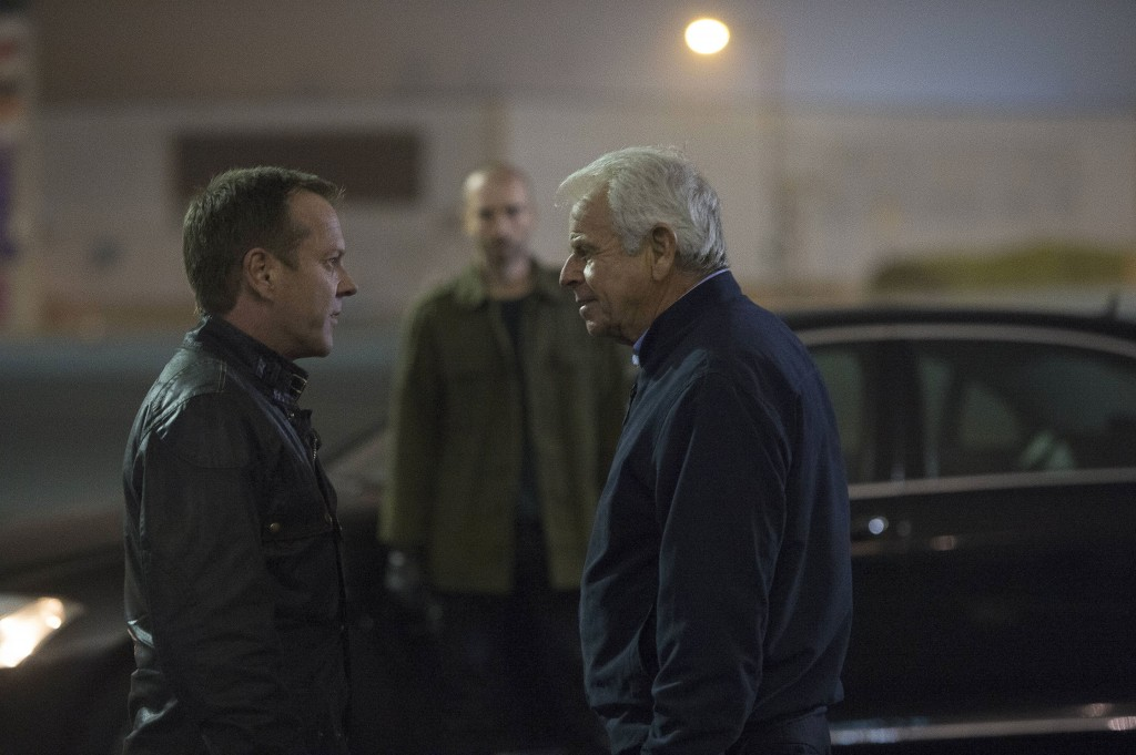 Jack Bauer (Kiefer Sutherland) asks Belcheck (Branko Tomovic) to escort President Heller (William Devane) in 24: Live Another Day Episode 9