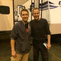Stuntman Marcus Shakesheff poses with Kiefer Sutherland on the final day of 24: Live Another Day filming