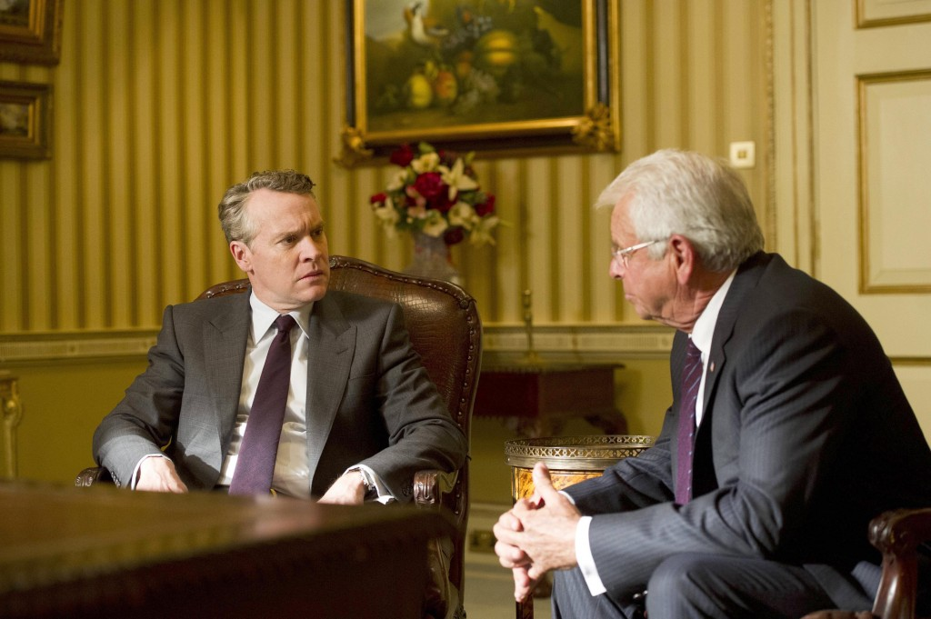 President Heller (William Devane) explains his next move to Mark Boudreau (Tate Donovan) in 24: Live Another Day Episode 8