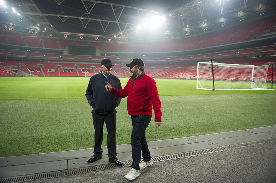 William Devane and director Jon Cassar at Wembley Stadium for 24: Live Another Day Episode 8