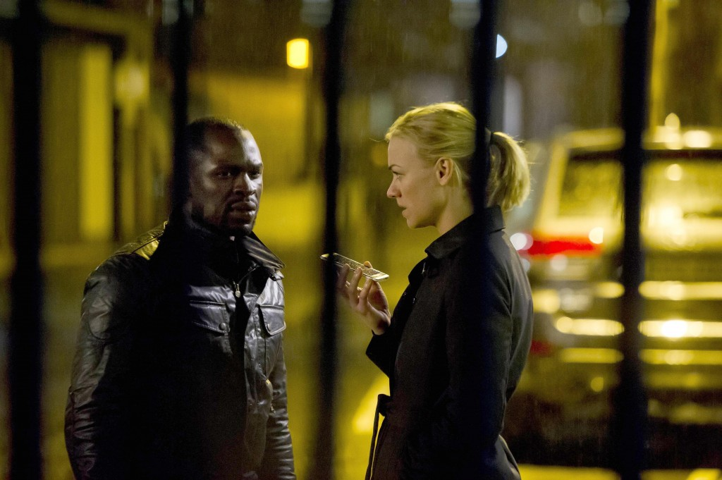 Kate Morgan (Yvonne Strahovski) and Erik Ritter (Gbenga Akinnagbe) talk to Jack in 24: Live Another Day Episode 10